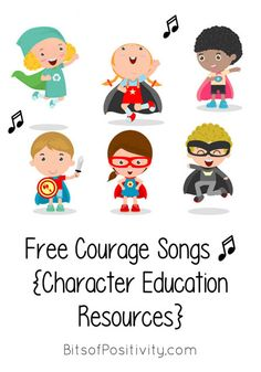 Free songs focusing on courage, one of the Paralympic values; helpful for character education and virtue-based unit studies - Bits of Positivity Kindergarten Songs, Preschool Songs, Kids Songs, Infant Activities, Activities For Kids, Childcare Activities, Songs About Courage, Teaching Music, Teaching Kids
