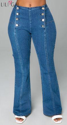 168a3007 USD33.95 Mid Waist Button Fly Denim Blue Pants #liligal #pants #jeans