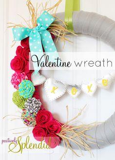 Best Fabulous Valentine's Day Wreaths DIY Tutorials, easy Valentine Wreath Crafts, Heart Wreath, Valentine Decoration Diy Valentines Day Wreath, Valentine Day Love, Valentine Day Crafts, Holiday Crafts, Wreath Crafts, Diy Wreath, Paper Crafts, Felt Wreath, Fabric Wreath