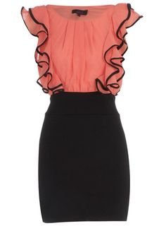 Coral/black ruffle dress Now Passion For Fashion, Love Fashion, Fashion Beauty, Womens Fashion, Pretty Outfits, Cute Outfits, Black Ruffle Dress, Work Attire, Swagg