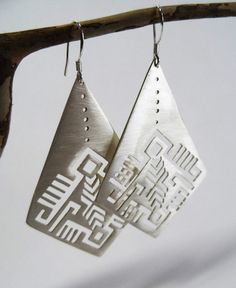 hand made sterling silver earringsaztec patternsaw by shabanaj, $168.00