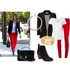 """""""Get The Look: Jessica Alba's Red Jeans Outfit"""""""