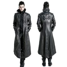 men's goth fashion | Men Black Faux Leather Long Gothic Coats Jackets Windbreakers Clothes ...