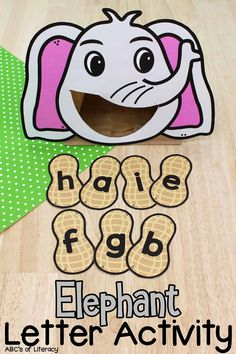 This Elephant Letter Recognition Activity is a fun, hands-on way for pre-readers to practice identifying capital and lowercase letters!