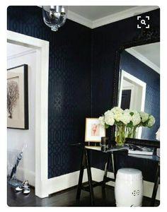 Dark Walls With Textured Wallpaper Schlafzimmer Einrichten, Tapeten,  Wandgestaltung, Wandfarbe, Wohnraum,