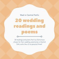 20 wedding readings and poems suggestions for wedding ceremonies, from Wed in Central Park
