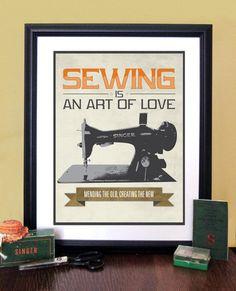 Sewing Machine Art Typography Poster Print With Singer Sewing Machine, Wall Art, Sewing Decor, Sewing Art ,Retro Modern Design, 11x14. $12.00, via Etsy.