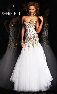 Sherri HIll Style 21108 Size 4 Ivory/Gold