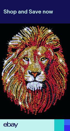 The Lion design is part of our Sequin Art Blue range. This brave, ferocious yet beautiful animal glistens in sequins. The fiery colours of red, gold and bronze spread across his sleek face and large shaggy mane, creating a bold powerful project. Button Art, Button Crafts, Lion Craft, Sequin Crafts, Lion Design, Rhinestone Art, Dot Art Painting, Diamond Art, String Art