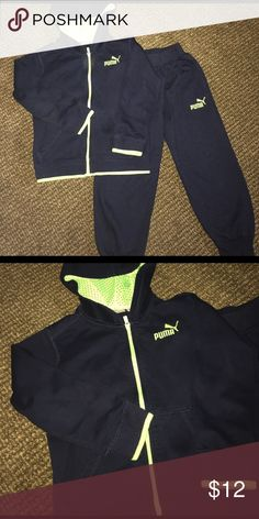 Boys hooded sweater and sweat pants set Navy blue and fluorescent green embroidery sweats set zipper hooded jacked and sweat pants in good condition very little signs of wear Puma Matching Sets