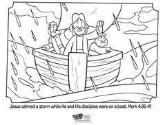 Kids coloring page from What's in the Bible? showing Jesus calming the storm from Mark 4:35-41. Volume 10: Jesus is the Good News!