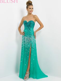 This Blush Prom 9736 Dress will leave you speechless with its ombre jewels that rock! Sexy stones flow down your tight bustier in pastels and brights to silver in this dramatic dance dress.  Features:   Available in sizes: 0 through 24   Colors include: cerise/amethyst, jade/forest, ocean/lapis   Fabric: Polyester