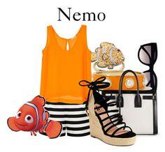 """Nemo"" by disneyandsuch ❤ liked on Polyvore featuring moda, Retrò, Forever New, Yves Saint Laurent, Ava & Aiden, disney, findingnemo y WhereIsMySuperSuit"
