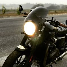 That road looks like it goes on forever into the fog. Credit: Triumph Street Twin featuring the Dark Tint Marlin Flyscreen! SHOP LINK IN BIO Triumph Street Twin, Triumph Bonneville, Triumph Motorcycles, It Goes On, The Darkest, Twins, To Go, Bike, Instagram