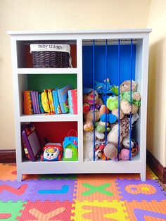 DIY colorful stuffed animal zoo and bookshelf