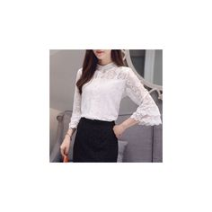3/4 Sleeve Cutout Lace Trim Blouse (120 SEK) ❤ liked on Polyvore featuring tops, blouses, women, lace sleeve top, three quarter sleeve tops, 3/4 sleeve blouse, 3/4 sleeve tops and three quarter length sleeve tops