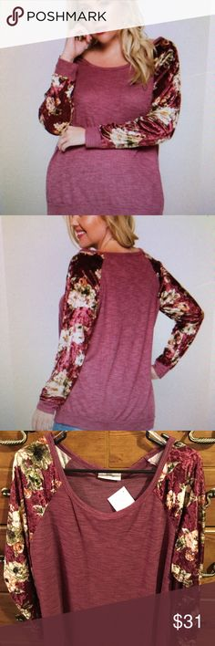 SUPER SOFT BEAUTIFUL TOP Beautiful PLUS SIZE brushed knit pullover top with contrast velvet floral long sleeves in a beautiful burgundy color.  Just in time for fall .  Material is polyester/rayon/spandex.  I have sizes 1X and 3X left! The Chic Petunia Tops Tunics