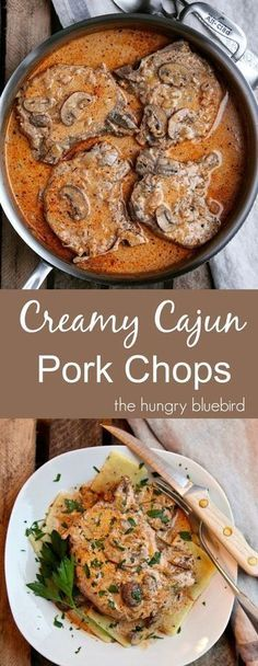 Smothered pork chops in creamy Cajun gravy