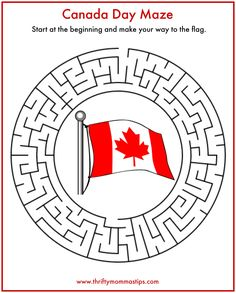 Fun Easy Canada Day Maze - Thrifty Mommas Tips Canada Day 150, Canada For Kids, Canadian Things, I Am Canadian, Summer Days, Summer Fun, Canada Day Crafts, Canada Day Party, Canada Holiday