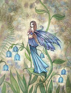 Fairy Fine Art Fantasy Fine Art Print by Molly Harrison 9 x 12 'Blue Bell'…