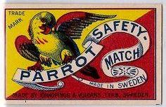 Parrot – Matchbox label — Made in Sweden