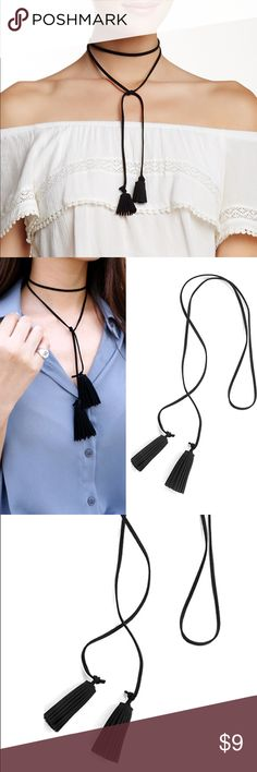 Long Tassel Necklace, Black Tassel Necklace. Tassel Necklace, Long Tassel Necklace, Wrap Around Necklace, Black Tassel Necklace, Tassel Jewelry, Necklace Tassels.  Tassel jewelry is very in right now. And this tassel necklace is particularly trendy! It combines elements of long wrap around choker necklace with two full tassel accents.      Material: faux suede leather     Closure: string tie     Length:  approx. 42 inches     Made in USA  This item comes with a FREE Gift - tattoo choker…