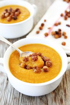 Slow Cooker Butternut Squash Soup with Maple Roasted Chickpeas