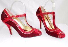 Colorblock Velvet Martinez ValeroT Strap Sandels Pumps Peep Shoes Fairy Tale 6.5 #MartinezValero #Heels #Cocktail