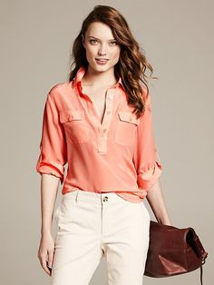 Silk Utility Blouse Product Image