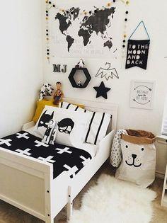 monochrome: black and white kids room inspiration CITYMOM. Batman Room, Superhero Room, Batman Kids Rooms, White Kids Room, Casa Kids, Deco Kids, Kids Room Design, Baby Boy Rooms, Kids Decor