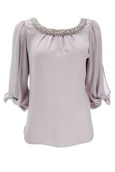 Wallis Grey Embellished Bow Sleeve Top €34