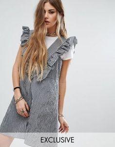 Платье в клеточку с рюшами Reclaimed Vintage