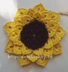 TRICO y CROCHET-madona-mía: Girasol a crochet paso a paso en fotográfias