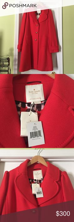 """Size 14, Kate Spade Eryn coat New, with tags and never worn. This coat is in pristine condition. The color is kind of a """"mango"""" - orangey/reddish. It was a gift and unfortunately never fit and I never got around to returning it. It's absolutely beautiful! Comes with the original Kate Spade bag it came in. It's been hanging in it in a closet since given to me multiple years ago. kate spade Jackets & Coats Pea Coats"""