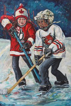 Digging For The Puck  Painting by Michelle Lake