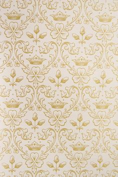 Close to gold clover wallpaper I picture for the Master bedroom (Arthur Wallpaper crown motif wallpaper with clover and acorns in pink and Metallic gold. Print Wallpaper, Pattern Wallpaper, Textile Patterns, Textiles, Home Decor Furniture, Small Flowers, Designer Wallpaper, Metallic Gold, Flower Prints