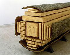 Frozen Mid-Cut: Log Sculpture Shows How Trees Get Sliced