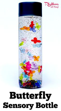 Calm down sensory bottles like this butterfly bottle can be used in many ways. They can be used for safe no mess sensory play, a science teaching aid, a time out tool, and to help children (and adults) calm down and unwind. They are also the perfect way f Sensory Boards, Sensory Bins, Sensory Activities, Sensory Play, Toddler Activities, Sensory Table, Sensory Bottles For Toddlers, Sensory Bottles Preschool, Calm Down Jar