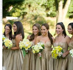bridesmaid dresses gold