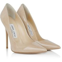 Jimmy Choo Pumps, 247Anouk Patent Leather Pointed Pumps Nude Shoe (16 400 UAH) ❤ liked on Polyvore featuring shoes, pumps, beige, stilettos shoes, stiletto pumps, cap toe pumps, patent leather shoes and beige patent pumps