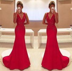 Amazing Mermaid Prom Dress Red Long Chiffon Lace Modest Evening Dresses For Senior Teens