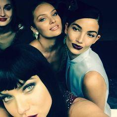 Adriana Lima ... Some undercover Angels at tonight's #MetGala...hanging with my girls @angelcandices @lilyaldridge @ed_razek — at The Metropolitan Museum of Art, New York.