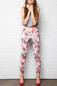 - Pull-on slim leg pant with front and back pintuck detail - 29? inseam - Printed stretch scuba material CARE Machine wash cold water with like colors, Gentle cycle, Do not bleach, Hang to dry, Iron low if needed   Floral Legging by I Love Tyler Madison. Clothing - Bottoms - Pants & Leggings Canada