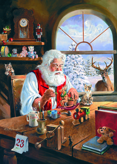 Santa's Workshop Puzzle 1 #jigsaw #puzzle #christmas #xmas #gifts #children #grandparents #hobby #fun #family #gibsons #set