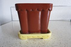 Chocolate Brown and Butter Yellow Vintage Small Shawnee Ceramic Planter 410 Scalloped Edges - Perfect Home for Succulents or Cacti! by AdoredAnew on Etsy