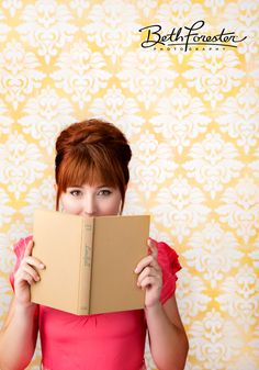 Modcloth dress Damask backdrop  reader, book lover, reader photoshoot, retro style