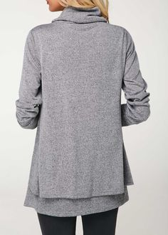 c9db869f86a5ba Long Sleeve Cowl Neck Layered Grey T Shirt | Rotita.com - USD $31.88  Lingerie
