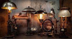 Custom Machine Age Lighting & Furniture, hand made steampunk lighting and steampunk furniture Vintage Industrial Lighting, Vintage Industrial Furniture, Retro Lighting, Rustic Furniture, Industrial Living, Modern Industrial, Lighting Ideas, Office Furniture, Lighting Design