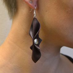 Violet Leather Earrings, handmade from upcycled leather