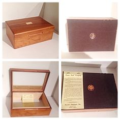 Vintage Walnut Wood Humidor Cigar Box by EnchantedDecorations